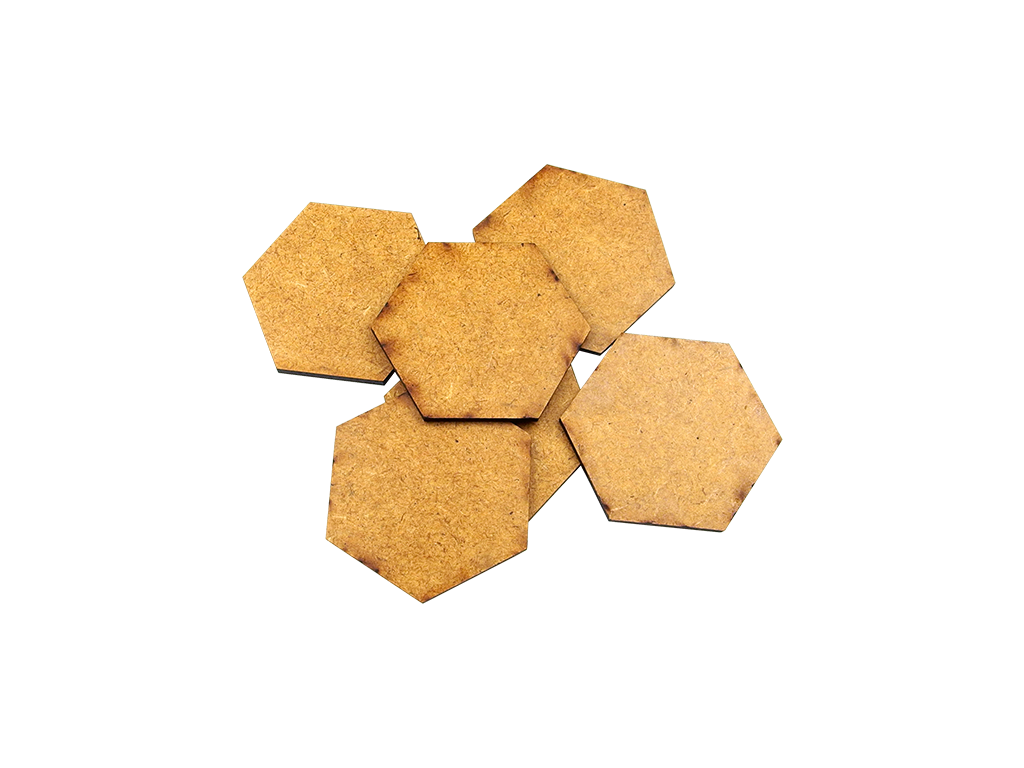 HDF 3mm Bases, Hex 75mm (5)