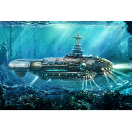 Card Game Mat - 60x40cm - Submarine
